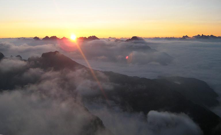 Sonnenaufgang, gesehen vom Widderstein/Kleinwalsertal